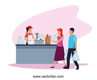 avatar supermarket worker at cash register with costumers with bags
