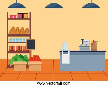 supermarket stand with groceries and cash register, colorful design