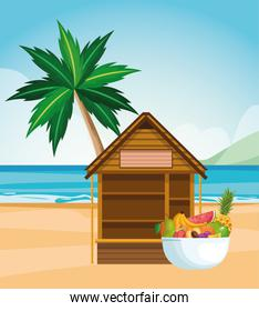 beach landscape with house and bowl with tropical fruits