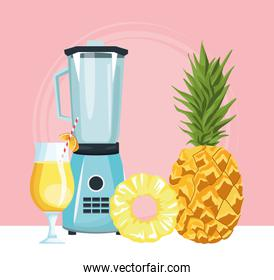 blender with pineapple and cocktail drink, colorful design