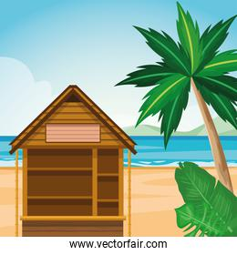 log cabin at the beach landscape with palms and tropical leaves