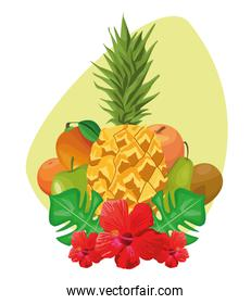 tropical leaves and flowers with tropical fruits
