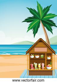 house with tropical fruits and juices at the beach