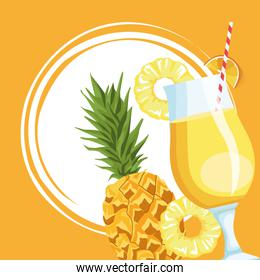 pineapple fruit and juice, colorful design