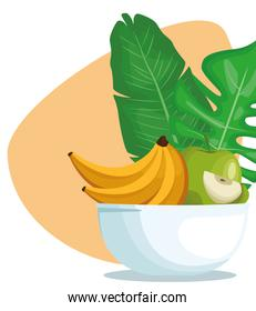 tropical leaves and bowl with apple and bananas