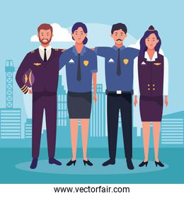 cartoon air hostess and pilot with police man and woman