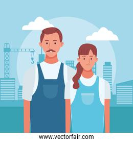 cartoon man and woman standing over urban city buildings background