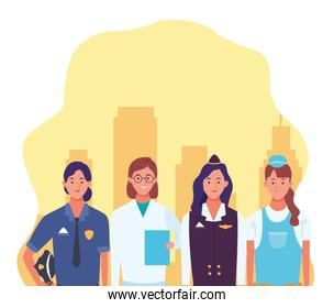 police woman with doctor, air hostess and repair worker