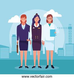 cartoon businesswoman with air hostess and doctor woman standing