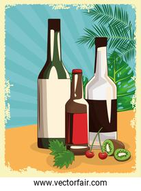 liquor bottles and beer bottle over tropical leaves and retro style background