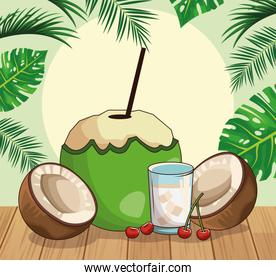 coconut and coconuts slices and cocktail over tropical leaves and retro style background