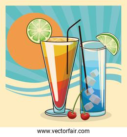 tropical cocktails over retro abstract sunrise background