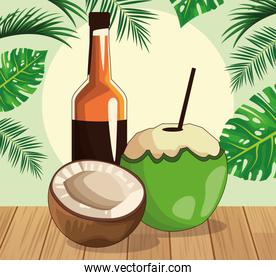 whisky bottle and coconut and coconut drink