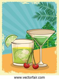 tropical martini and cocktail over tropical leaves and retro style background, flat design