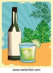 cocktail and liquor bottle over tropical leaves and retro style background