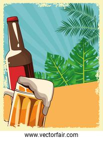 beer bottle and mug over tropical leaves and retro style background