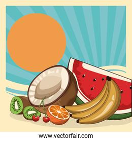 coconut and tropical fruits over retro abstract sunrise background