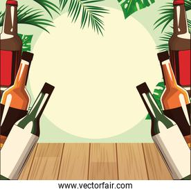 liquor bottles over tropical leaves and retro style background