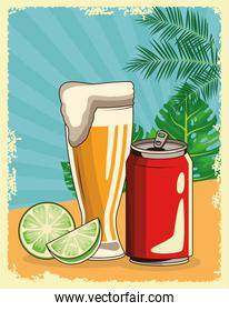 beer glass and soda can over tropical leaves and retro style background