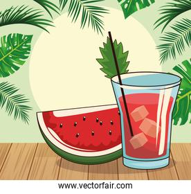 watermelon slice and cocktail , colorful design
