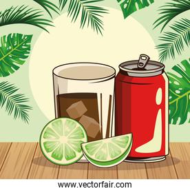 soda can and cocktail glass over tropical leaves and retro style background