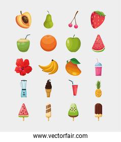Isolated fruits and ice cream icon set vector design