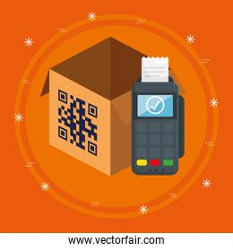 scan code qr in box with dataphone
