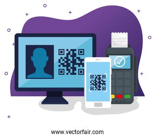 code qr with devices electronics