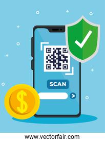 scan qr code with smartphone and coin