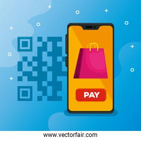 scan qr code with smartphone and bag shopping