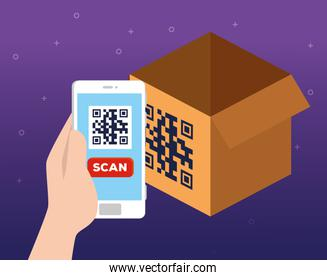 scan qr code in box with phone