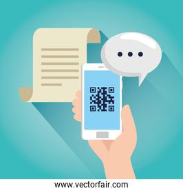 scan code qr with smartphone and speech bubble