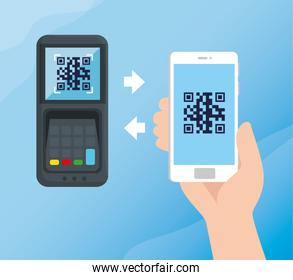 scan code qr with smartphone and dataphone