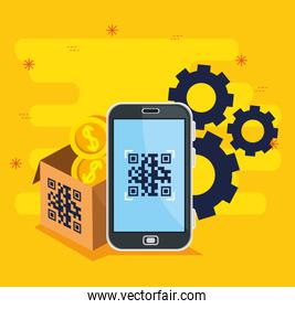 scan code qr with smartphone and icons