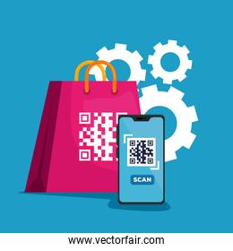 scan code qr with smartphone and bag shopping in gears