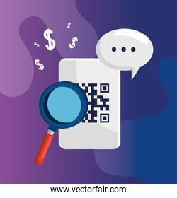 code qr with magnifying glass and speech bubble