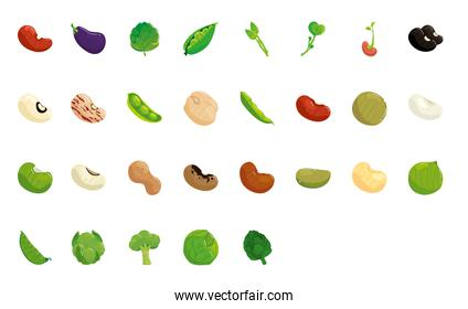 bundle seeds and vegetables set icons