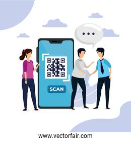 scan code qr with smartphone and faceless business people