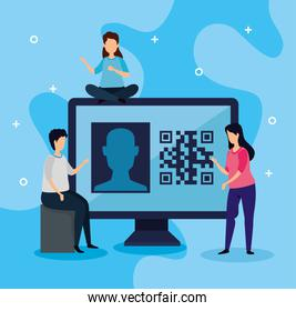 scan code qr with computer and business people