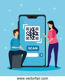 scan code qr with smartphone and business couple