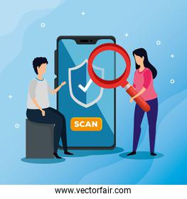 business people with smartphone and magnifying glass