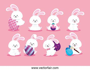 group of cute rabbits and eggs easter