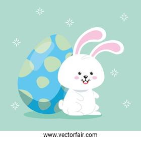cute rabbit with egg easter decorated