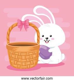 cute rabbit with egg easter and basket wicker