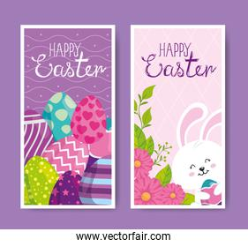 set of happy easter cards with cute decoration
