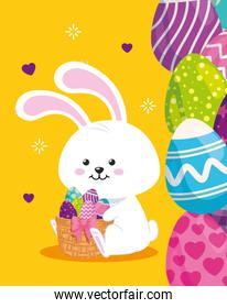 cute rabbit with eggs easter decorated