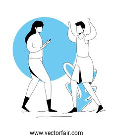 couple practicing exercise in park landscape
