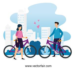 buildings urban scene with couple in bikes