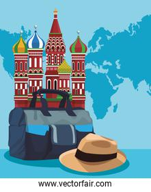 Saint Basil Cathedral with travel bag and hat