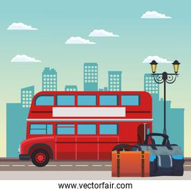 london bus and travel bags on the stree over urban city buildings scenary background